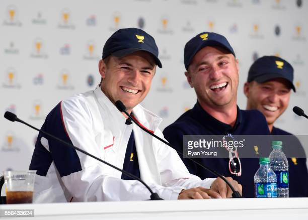 Justin Thomas of the US Team and Jordan Spieth of the US Team speak to the media during a press conference during the Sunday singles matches at the...