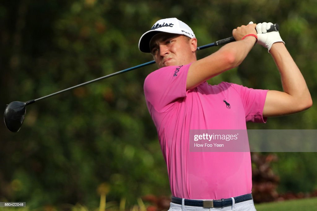 Justin Thomas of USA in action during the 2017 CIMB Classic at TPC Kuala Lumpur on October 12, 2017 in Kuala Lumpur, Malaysia.