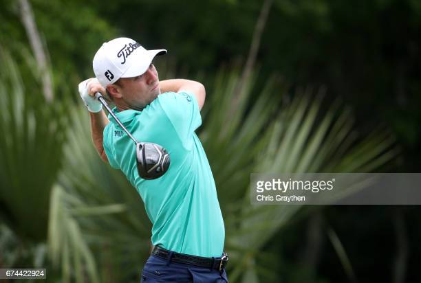 Justin Thomas plays his shot from the 11th tee during the second round of the Zurich Classic at TPC Louisiana on April 28 2017 in Avondale Louisiana