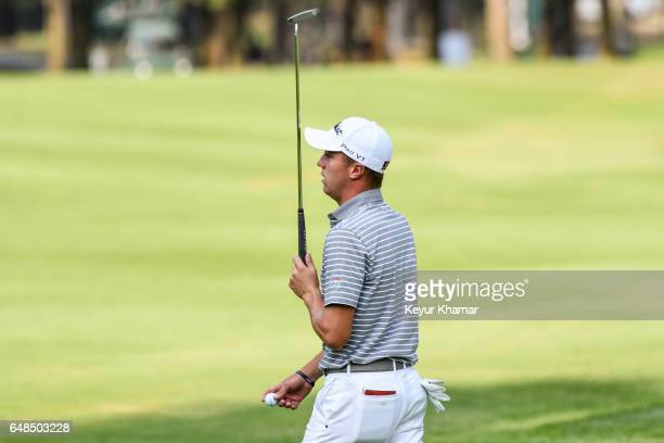Justin Thomas reacts to missing a putt on the 15th hole green during the final round of the World Golf ChampionshipsMexico Championship at Club de...