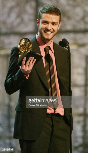 Justin Timberlake accepts the Grammy for Best Male Pop Vocal Performance for the song 'Cry Me A River' on the album Justified at the 46th Annual...