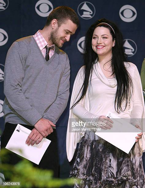 Justin Timberlake and Amy Lee of Evanescence during 49th Annual GRAMMY Awards Nominations Announcement at Music Box in Hollywood California United...