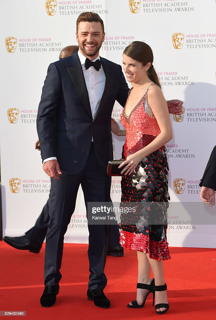 Justin Timberlake and Anna Kendrick arrive for the House Of Fraser British Academy Television Awards 2016 at the Royal Festival Hall on May 8, 2016 in London, England.