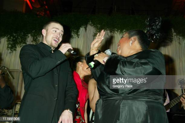 Justin Timberlake and Aretha Franklin during 2003 Clive Davis PreGRAMMY Party at The Regent Wall Street in New York NY United States