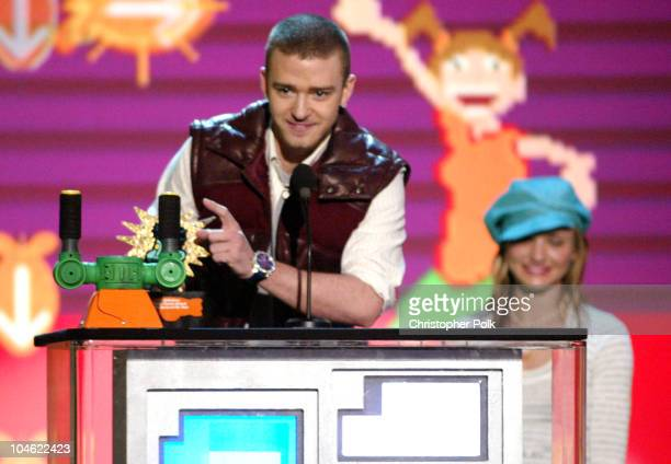 Justin Timberlake and Cameron Diaz during Nickelodeon's 16th Annual Kids' Choice Awards 2003 Show at Barker Hangar in Santa Monica CA United States