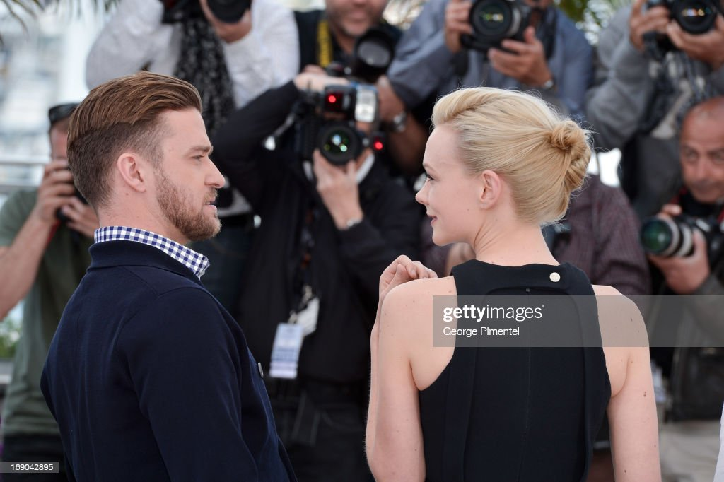 Justin Timberlake and Carey Mulligan attend the photocall for 'Inside Llewyn Davis' at The 66th Annual Cannes Film Festival on May 19, 2013 in Cannes, France.