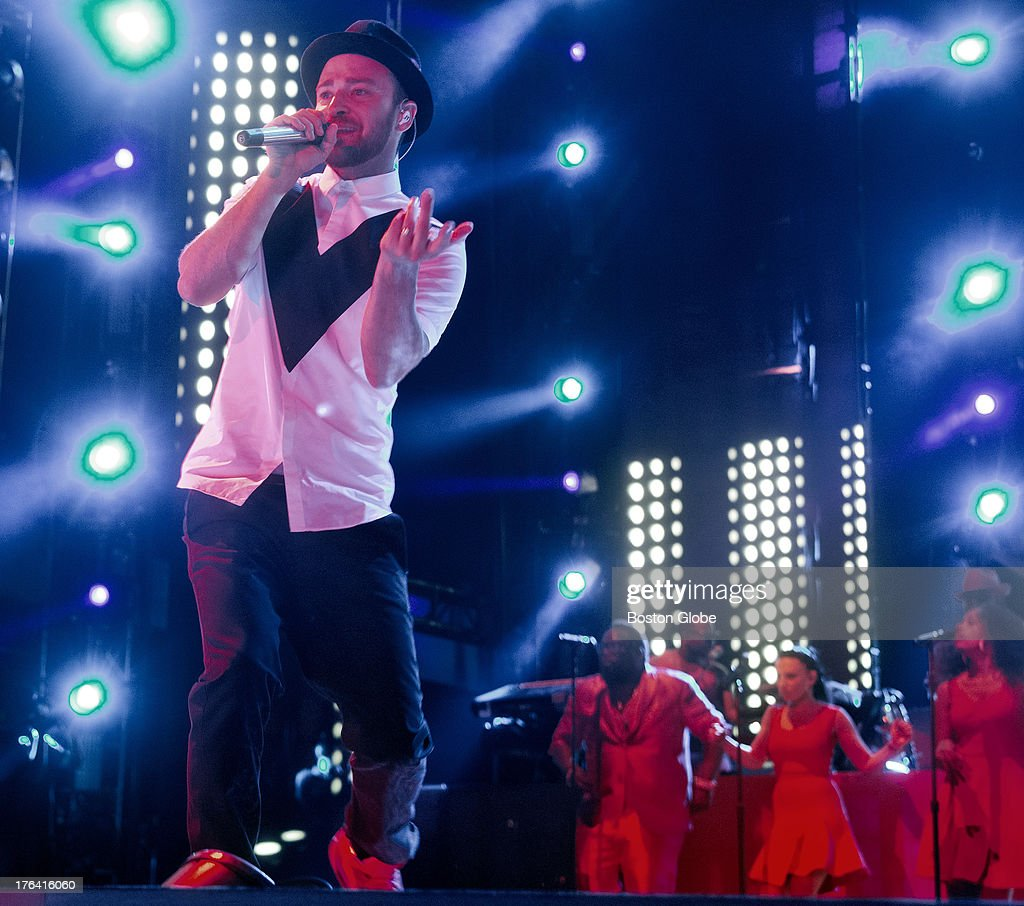 Justin Timberlake and Jay Z in concert at Fenway Park, Saturday, Aug. 10, 2013.