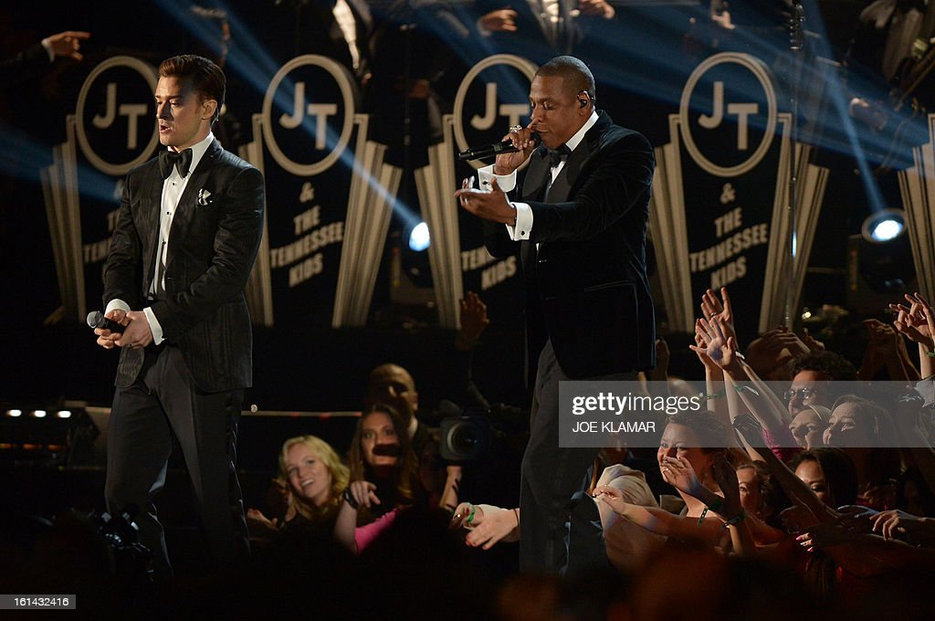 Justin Timberlake (L) and Jay-Z perform on stage at the Staples Center during the 55th Grammy Awards in Los Angeles, California, February 10, 2013. AFP PHOTO Joe KLAMAR