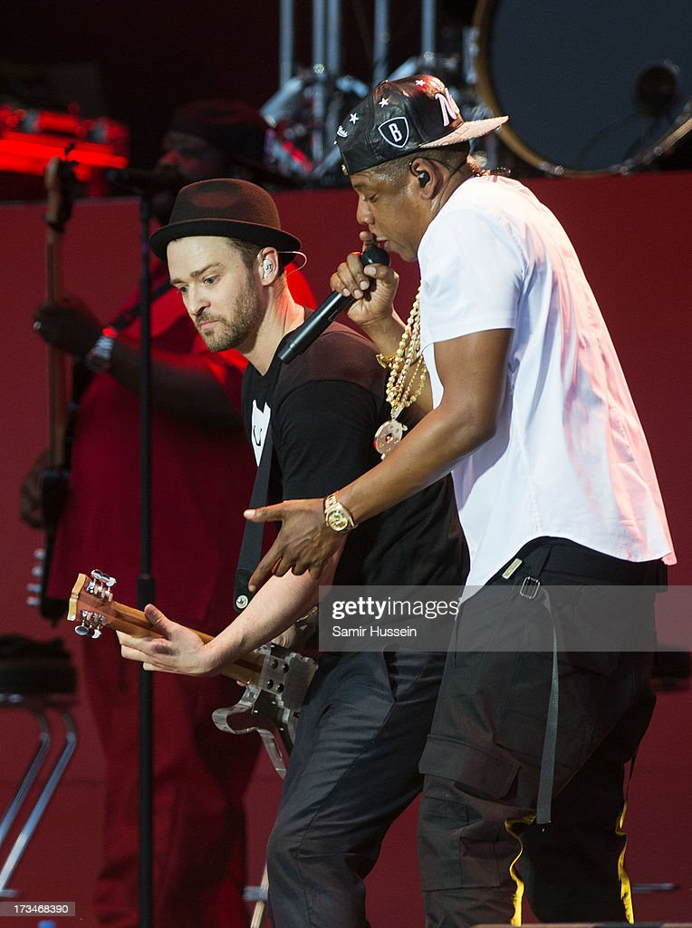 Justin Timberlake and Jay-Z perform on the main stage on day 3 of the Yahoo! Wireless Festival at Queen Elizabeth Olympic Park on July 14, 2013 in London, England.