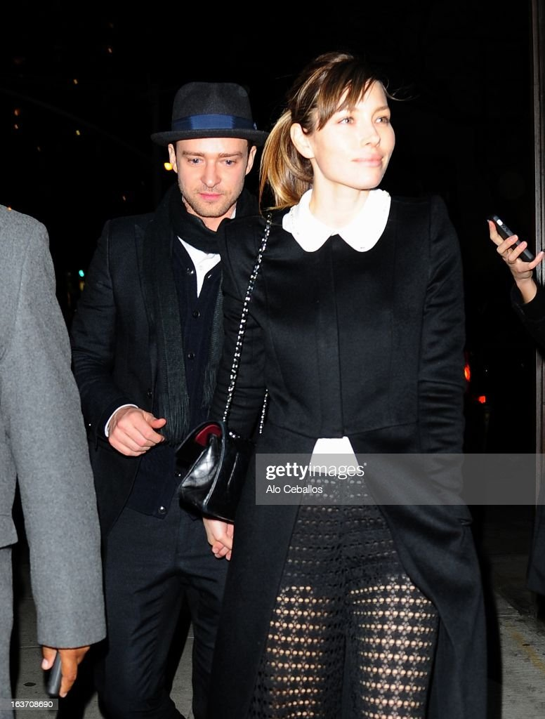 Justin Timberlake and Jessica Biel are seen in Midtown on March 14, 2013 in New York City.