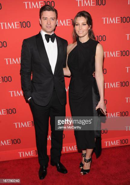 Justin Timberlake and Jessica Biel attend the 2013 Time 100 Gala at Frederick P Rose Hall Jazz at Lincoln Center on April 23 2013 in New York City
