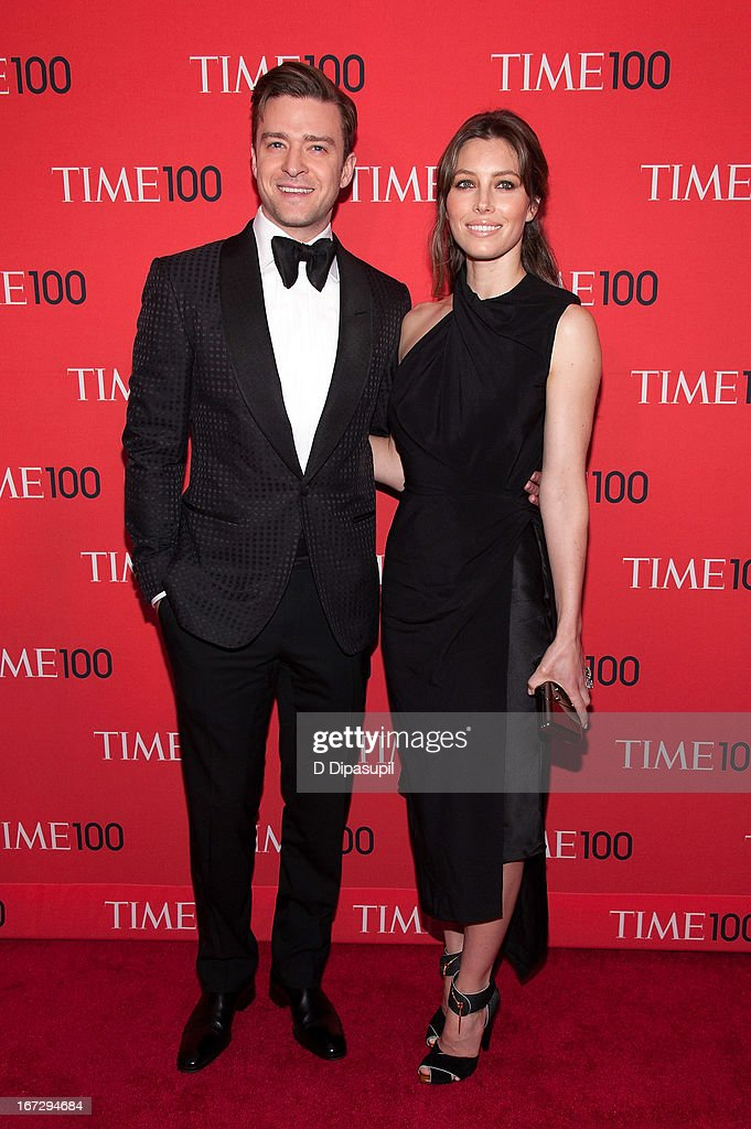 Justin Timberlake (L) and Jessica Biel attend the 2013 Time 100 Gala at Frederick P. Rose Hall, Jazz at Lincoln Center on April 23, 2013 in New York City.