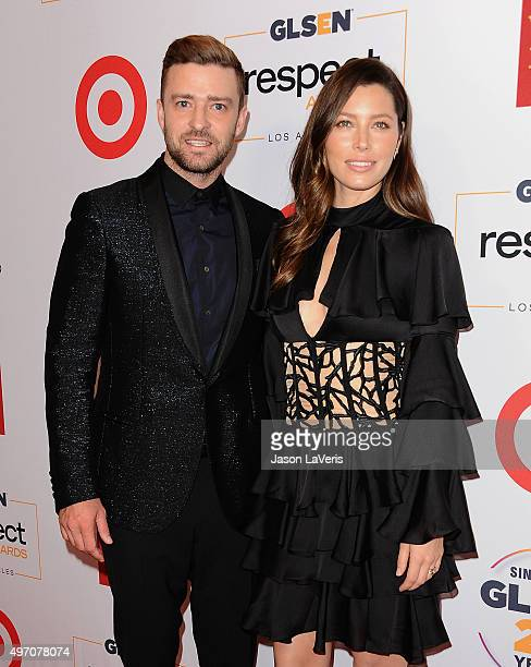 Justin Timberlake and Jessica Biel attend the 2015 GLSEN Respect Awards at the Beverly Wilshire Four Seasons Hotel on October 23 2015 in Beverly...