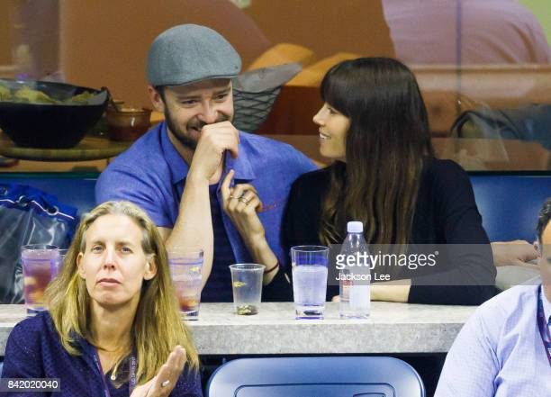 Justin Timberlake and Jessica Biel attend the 2017 US Open Tennis Championships Federer vs Lopez at Arthur Ashe Stadium on September 2 2017 in New...