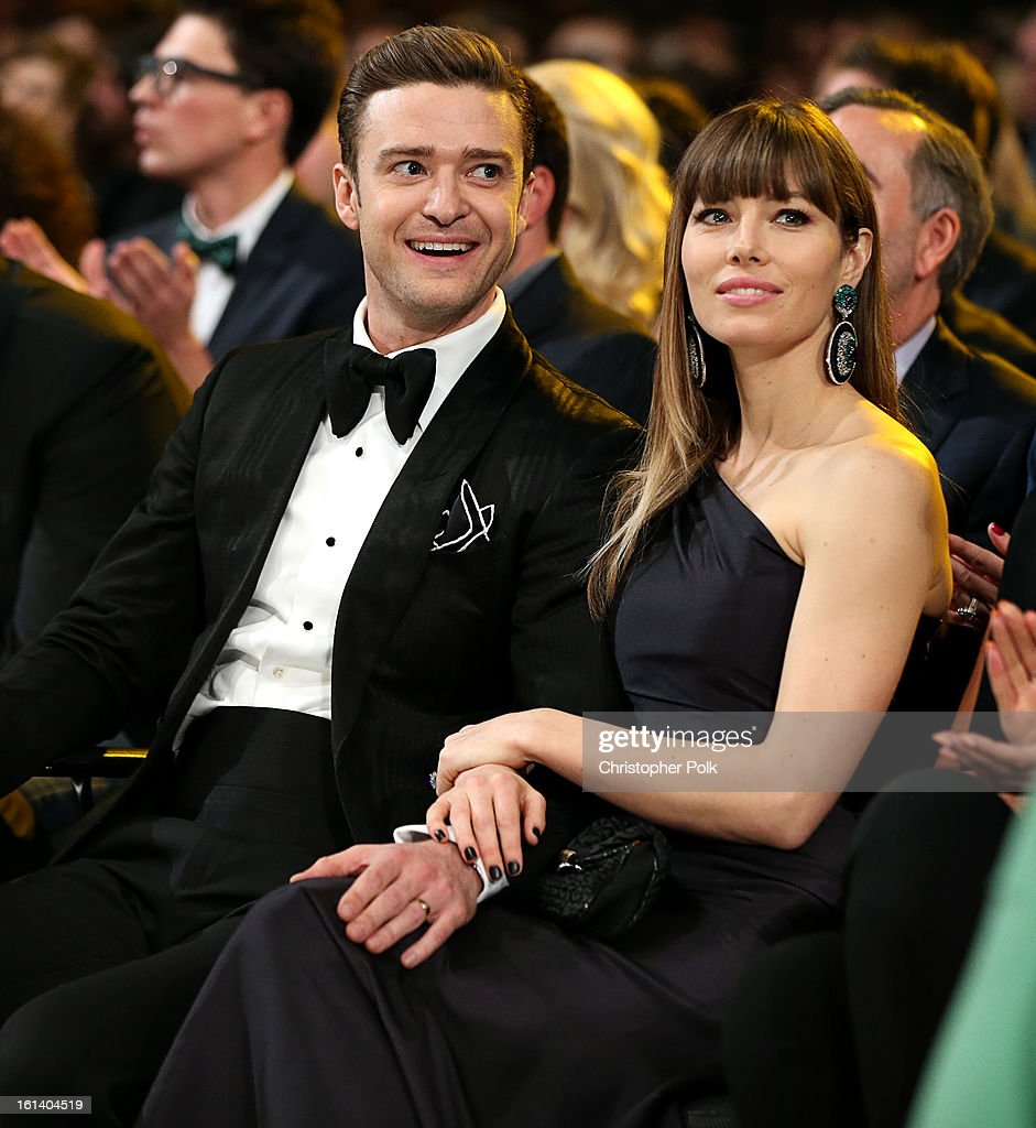 Justin Timberlake and Jessica Biel attend the 55th Annual GRAMMY Awards at STAPLES Center on February 10, 2013 in Los Angeles, California.