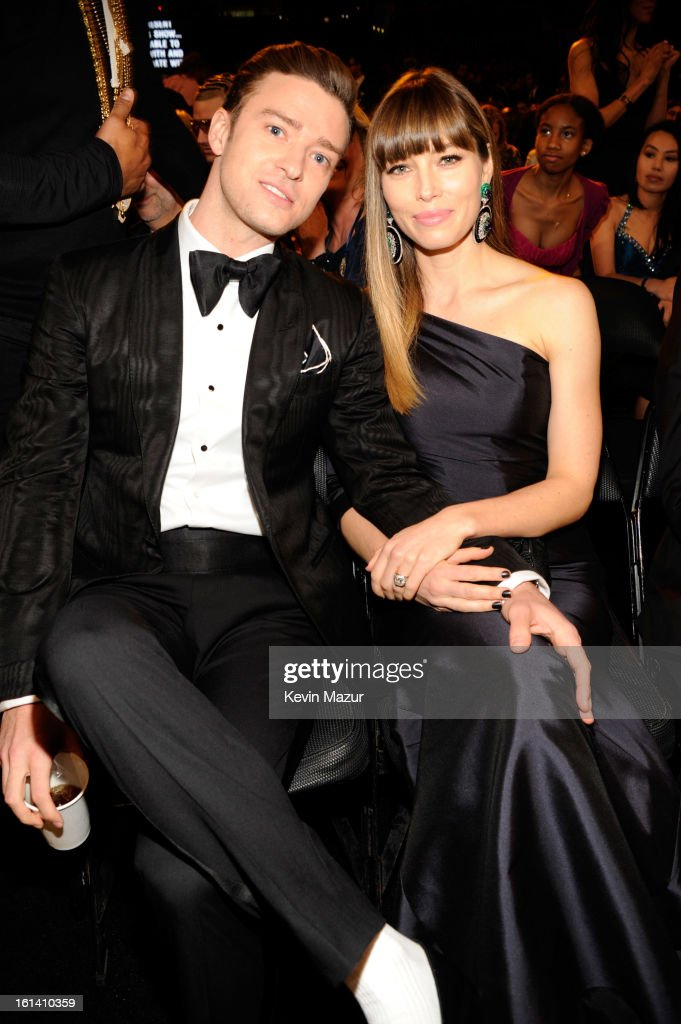 <a gi-track='captionPersonalityLinkClicked' href=/galleries/search?phrase=Justin+Timberlake&family=editorial&specificpeople=157482 ng-click='$event.stopPropagation()'>Justin Timberlake</a> and <a gi-track='captionPersonalityLinkClicked' href=/galleries/search?phrase=Jessica+Biel&family=editorial&specificpeople=203011 ng-click='$event.stopPropagation()'>Jessica Biel</a> attend the 55th Annual GRAMMY Awards at STAPLES Center on February 10, 2013 in Los Angeles, California.
