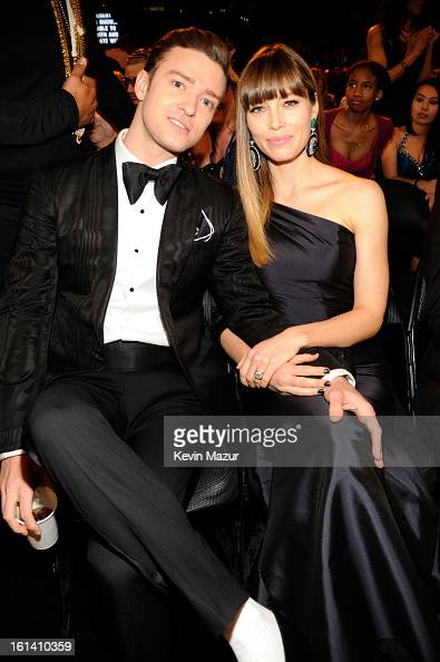 Justin Timberlake and Jessica Biel attend the 55th Annual GRAMMY Awards at STAPLES Center on February 10 2013 in Los Angeles California