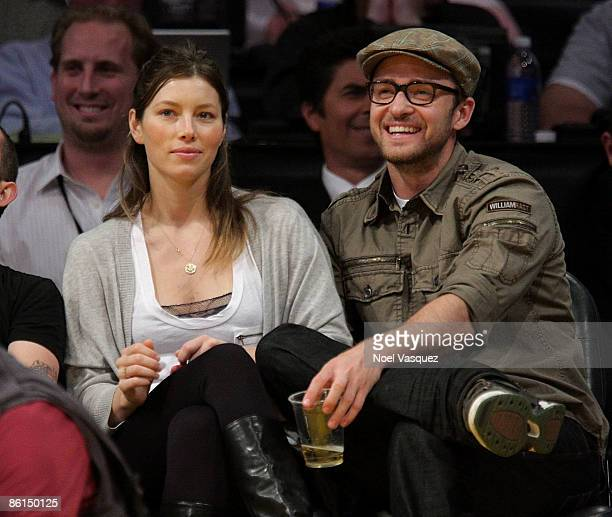 Justin Timberlake and Jessica Biel attend the Los Angeles Lakers vs Utah Jazz game at Staples Center on April 21 2009 in Los Angeles California