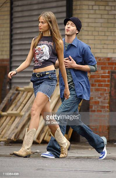 Justin Timberlake and Model Lindsey during Justin Timberlake Filming His Music Video 'I'm Loving It' at New York City in New York City New York...