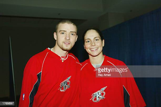 Justin Timberlake and Sue Bird of the Seattle Storm pose for a photo prior to the Celebrity Game at the NBA Jam Session at the Georgia World Congress...