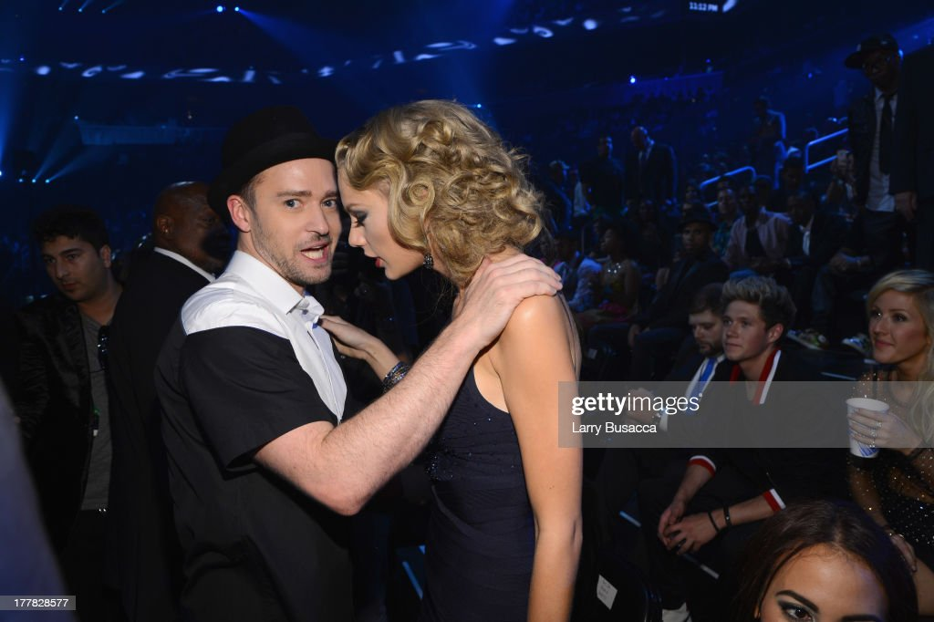 <a gi-track='captionPersonalityLinkClicked' href=/galleries/search?phrase=Justin+Timberlake&family=editorial&specificpeople=157482 ng-click='$event.stopPropagation()'>Justin Timberlake</a> and <a gi-track='captionPersonalityLinkClicked' href=/galleries/search?phrase=Taylor+Swift&family=editorial&specificpeople=619504 ng-click='$event.stopPropagation()'>Taylor Swift</a> attend the 2013 MTV Video Music Awards at the Barclays Center on August 25, 2013 in the Brooklyn borough of New York City.
