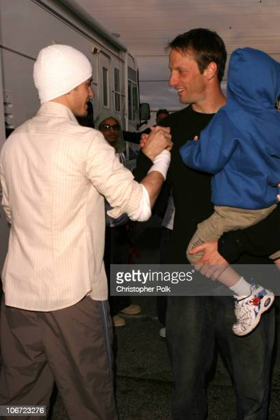 Justin Timberlake and Tony Hawk during Nickelodeon's 16th Annual Kids' Choice Awards 2003 Backstage at Barker Hangar in Santa Monica CA United States