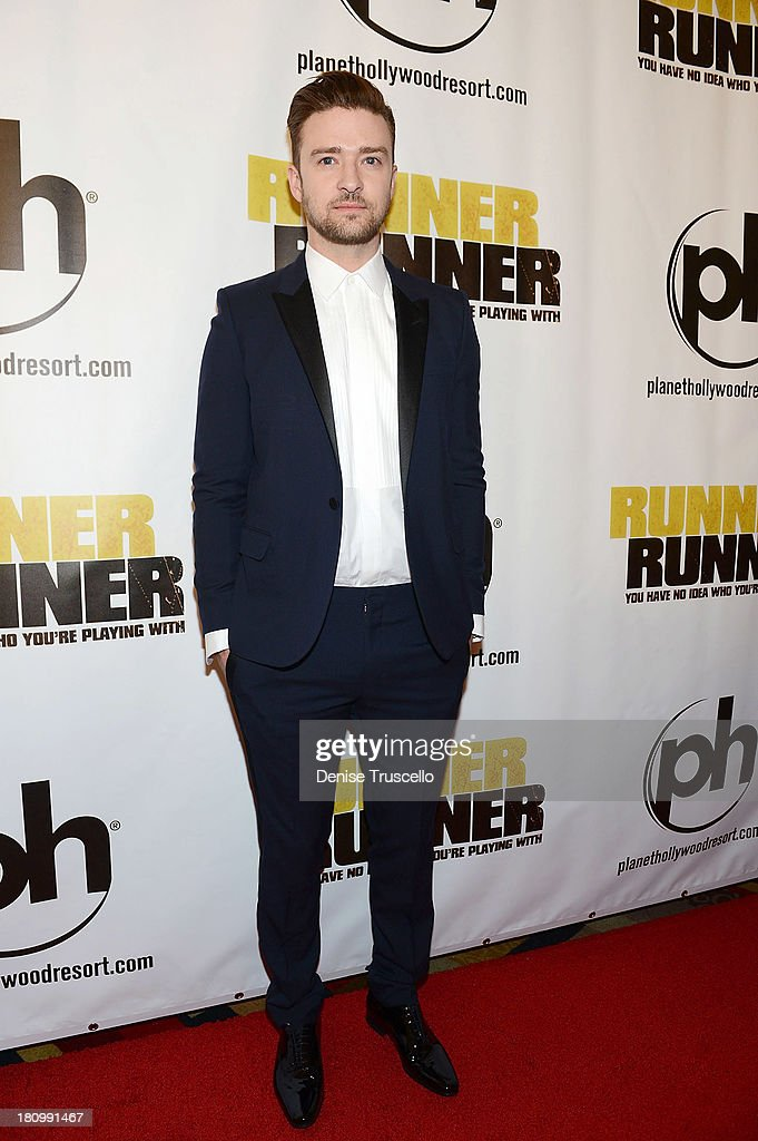 Justin Timberlake arrives at the world premiere of Runner Runner at Planet Hollywood Resort Casino on September 18 2013 in Las Vegas Nevada