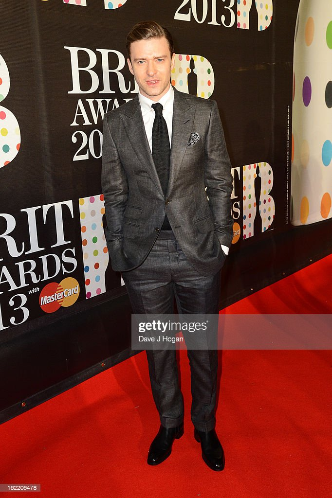 Justin Timberlake attends The Brit Awards 2013 at The O2 Arena on February 20, 2013 in London, England.