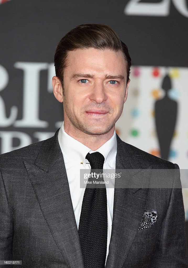 Justin Timberlake attends the Brit Awards at 02 Arena on February 20, 2013 in London, England.