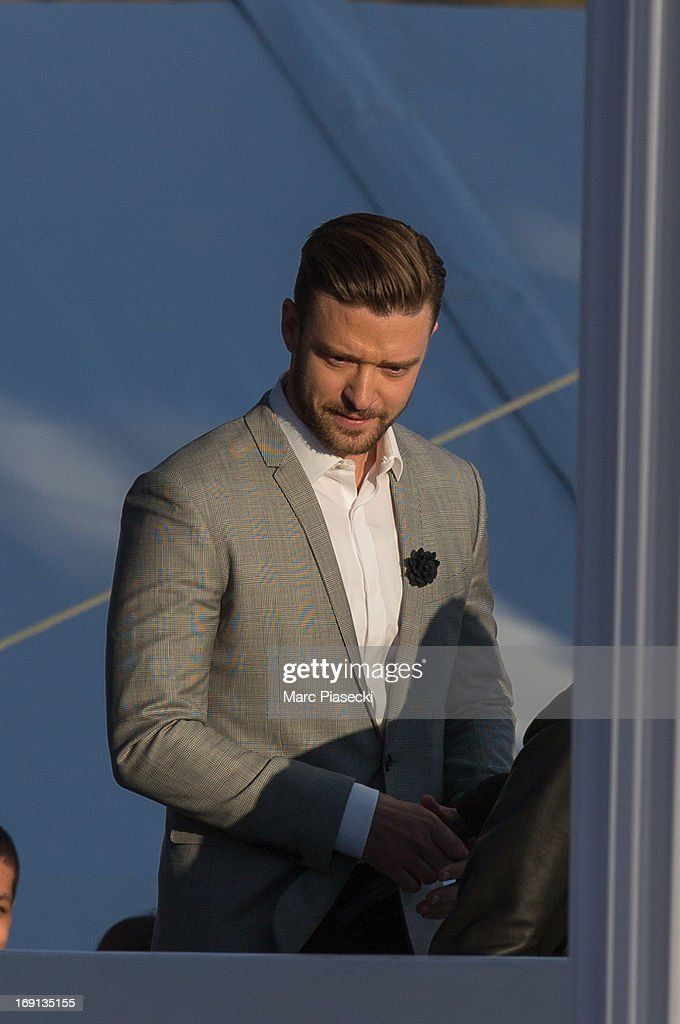 <a gi-track='captionPersonalityLinkClicked' href=/galleries/search?phrase=Justin+Timberlake&family=editorial&specificpeople=157482 ng-click='$event.stopPropagation()'>Justin Timberlake</a> attends the 'Le Grand Journal' TV show during the 66th Annual Cannes Film Festival on May 20, 2013 in Cannes, France.