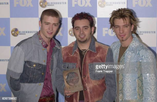 Justin Timberlake Chris Kirkpatrick and JC Chasez from the group N'Sync at the 7th Annual Blockbuster Entertainment Awards