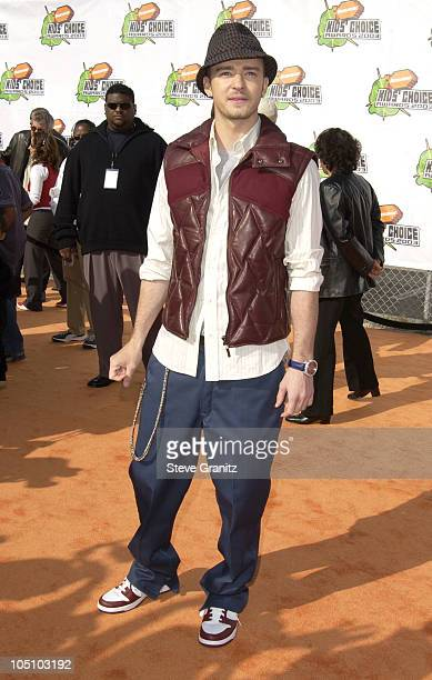Justin Timberlake during Nickelodeon's 16th Annual Kids' Choice Awards 2003 Arrivals at Barker Hanger in Santa Monica California United States