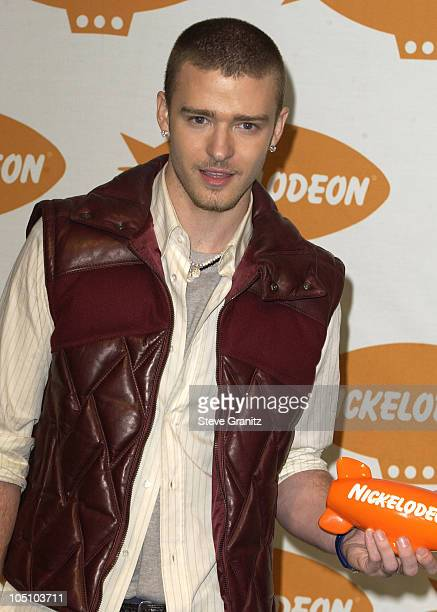 Justin Timberlake during Nickelodeon's 16th Annual Kids' Choice Awards 2003 Press Room at Barker Hanger in Santa Monica California United States