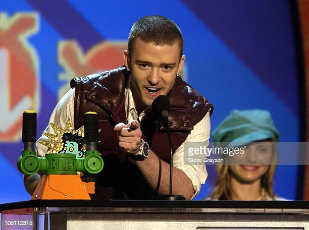 Justin Timberlake during Nickelodeon's 16th Annual Kids' Choice Awards 2003 Show at Barker Hangar in Santa Monica California United States