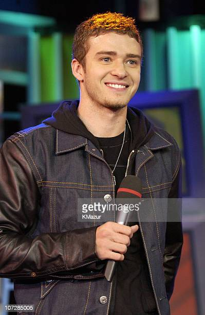 Justin Timberlake during 'Spankin' New Music Week' with Justin Timberlake Jennifer Lopez and Halle Berry on MTV's 'TRL' November 5 2002 at MTV...