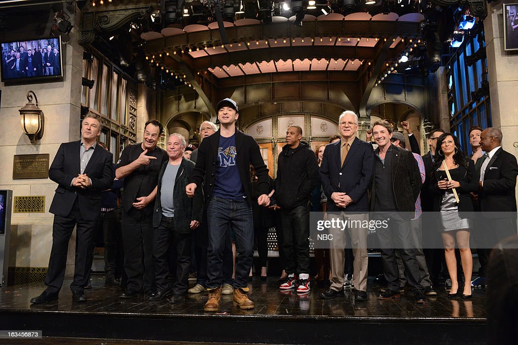 LIVE -- '<a gi-track='captionPersonalityLinkClicked' href=/galleries/search?phrase=Justin+Timberlake&family=editorial&specificpeople=157482 ng-click='$event.stopPropagation()'>Justin Timberlake</a>' Episode 1636 -- Pictured: (l-r) <a gi-track='captionPersonalityLinkClicked' href=/galleries/search?phrase=Alec+Baldwin&family=editorial&specificpeople=202864 ng-click='$event.stopPropagation()'>Alec Baldwin</a>, Dan Aykroyd, Paul Simon, Chevy Chase, <a gi-track='captionPersonalityLinkClicked' href=/galleries/search?phrase=Justin+Timberlake&family=editorial&specificpeople=157482 ng-click='$event.stopPropagation()'>Justin Timberlake</a>, <a gi-track='captionPersonalityLinkClicked' href=/galleries/search?phrase=Jay-Z&family=editorial&specificpeople=201664 ng-click='$event.stopPropagation()'>Jay-Z</a>, Steve Martin, Martin Short, Jason Sudeikis --