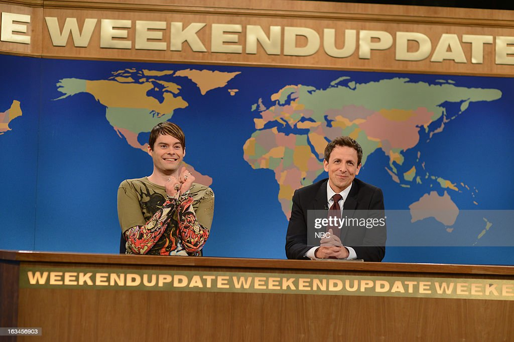 LIVE -- 'Justin Timberlake' Episode 1636 -- Pictured: (l-r) Bill Hader, Seth Meyers --