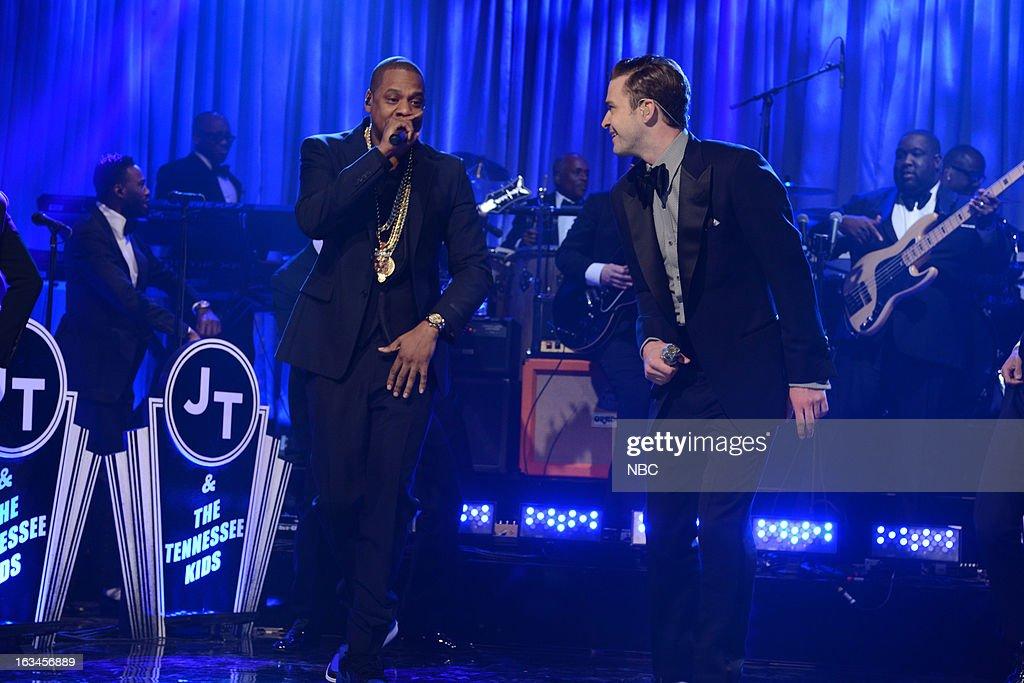 LIVE -- 'Justin Timberlake' Episode 1636 -- Pictured: (l-r) Jay-Z, Justin Timberlake --