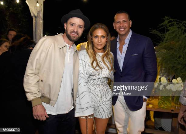 Justin Timberlake Jennifer Lopez and Alex Rodriguez attend Apollo in the Hamptons 2017 hosted by Ronald O Perelman at The Creeks on August 12 2017 in...