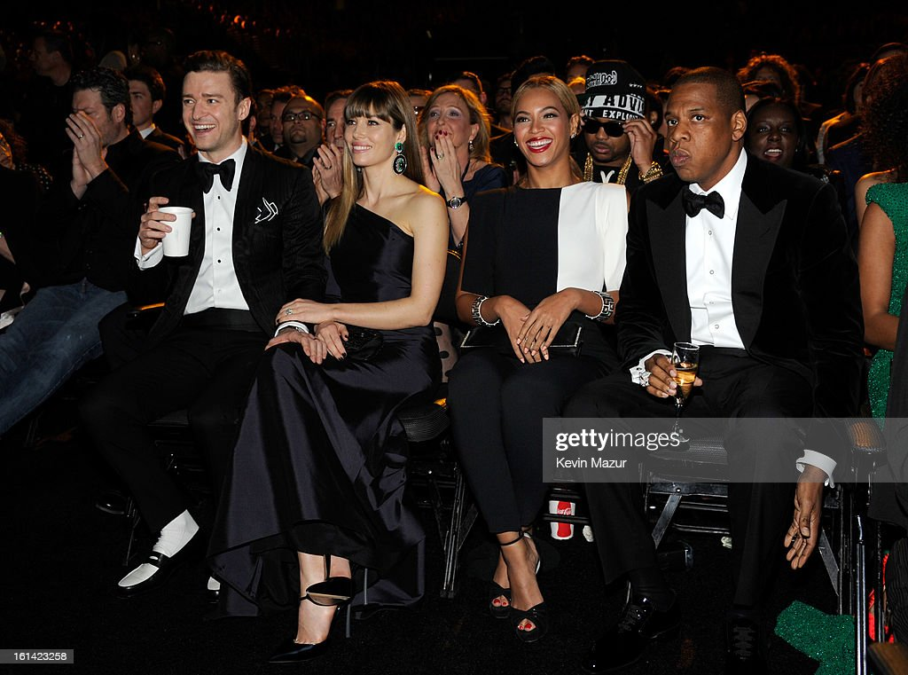 Justin Timberlake, Jessica Biel, Beyonce and Jay-Z attend the 55th Annual GRAMMY Awards at STAPLES Center on February 10, 2013 in Los Angeles, California.