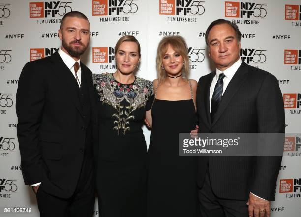 Justin Timberlake Kate Winslet Juno Temple and Jim Belushi attend the NYFF premiere of 'Wonder Wheel' at Alice Tully Hall on October 14 2017 in New...