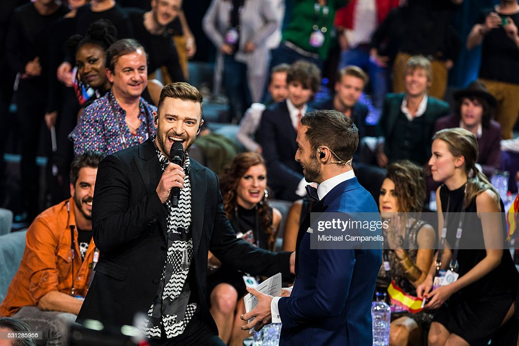 Justin Timberlake makes an appearance during the final dress rehearsal of the 2016 Eurovision Song Contest at Ericsson Globe Arena on May 13 2016 in...
