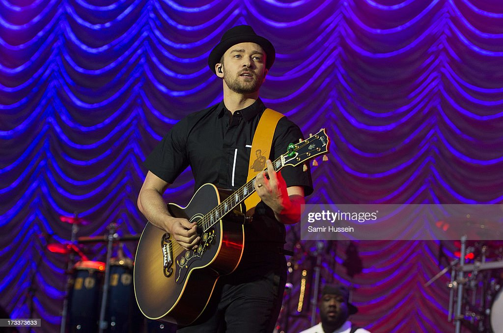 <a gi-track='captionPersonalityLinkClicked' href=/galleries/search?phrase=Justin+Timberlake&family=editorial&specificpeople=157482 ng-click='$event.stopPropagation()'>Justin Timberlake</a> performs as he headlines the main stage on day 1 of the Yahoo! Wireless Festival at Queen Elizabeth Olympic Park on July 12, 2013 in London, England.