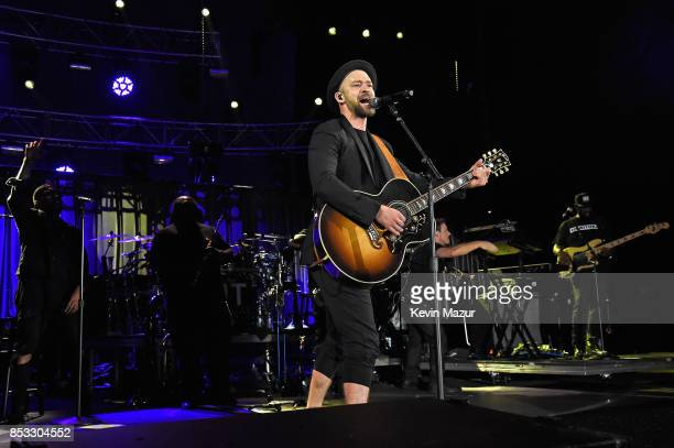 Justin Timberlake performs at 'A Concert for Charlottesville' at University of Virginia's Scott Stadium on September 24 2017 in Charlottesville...