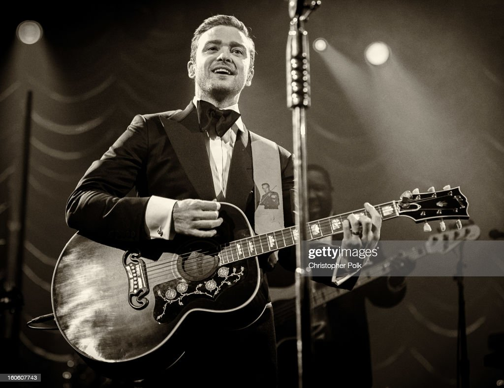 Image has been converted to black and white.) Justin Timberlake performs at DIRECTV Super Saturday Night Featuring Special Guest Justin Timberlake & Co-Hosted By Mark Cuban's AXS TV on February 2, 2013 in New Orleans, Louisiana.