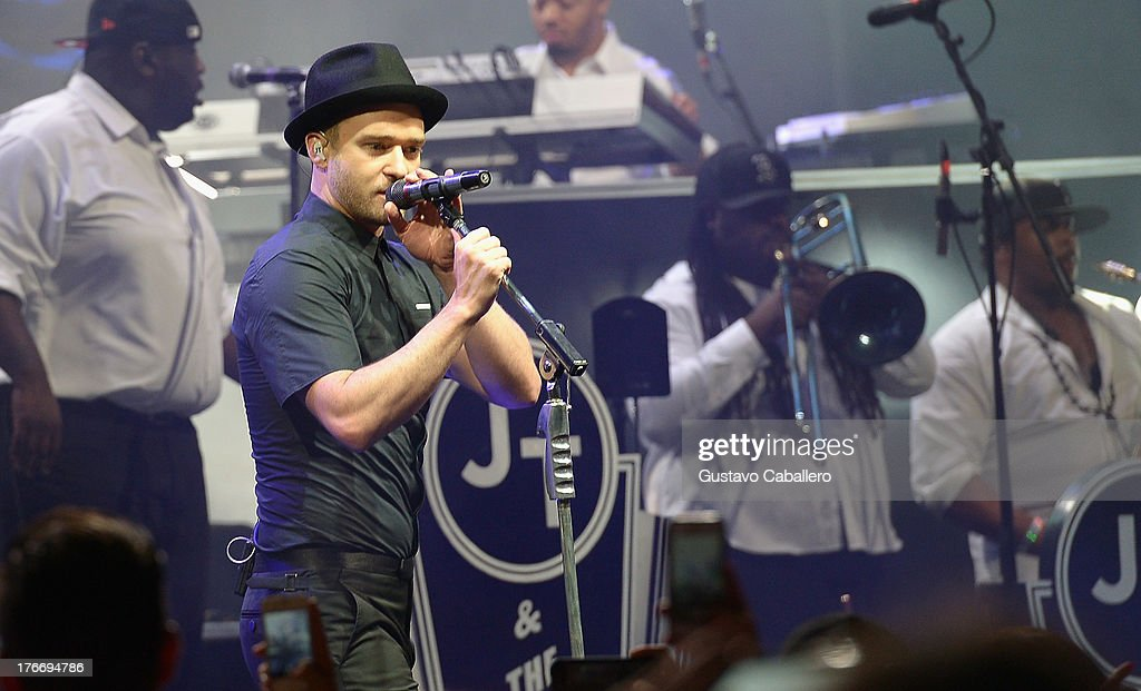 Justin Timberlake performs during MasterCard and Justin Timberlake Intimate Priceless Miami Performance at Fillmore Miami Beach on August 16, 2013 in Miami Beach, Florida.
