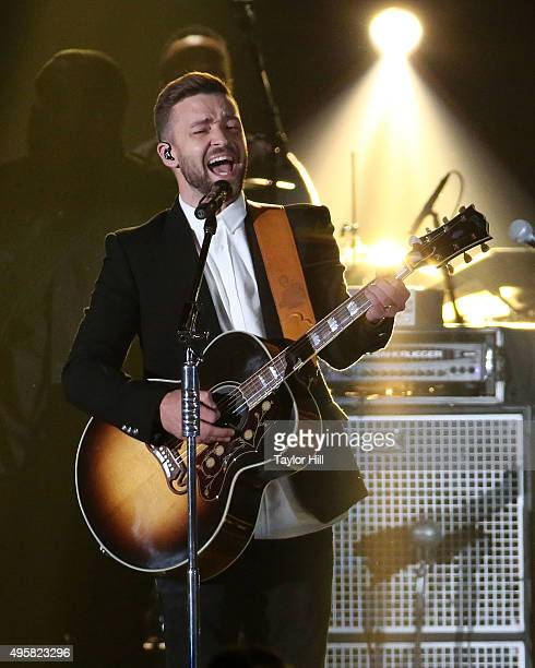 Justin Timberlake performs during the 49th annual CMA Awards at the Bridgestone Arena on November 4 2015 in Nashville Tennessee