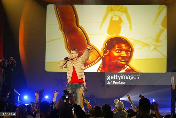 Justin Timberlake performs during the Read to Achieve Celebration on February 8 2003 at the Georgia World Congress Center in Atlanta Georgia during...