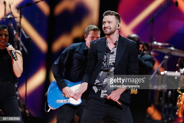 Justin Timberlake performs his new single 'Can't Stop The Feeling' at the Ericsson Globe on May 14 2016 in Stockholm Sweden