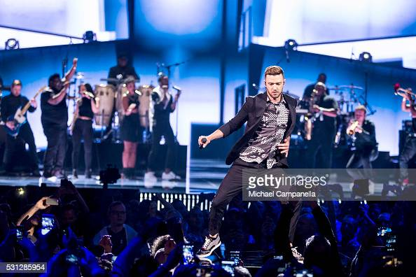 Justin Timberlake performs his new single 'Can't Stop The Feeling' during the final dress rehearsal of the 2016 Eurovision Song Contest at Ericsson...
